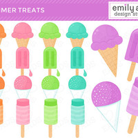 Ice Cream Snow Cones Popsicles Cute Clip Art - summer bright colorful snowcone - Commercial Use Scrapbook, Invitations, Cards