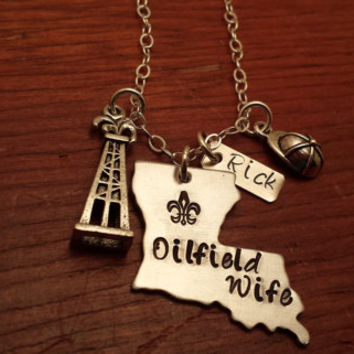 "Hand stamped personalized Louisiana (could use another state) necklace oilfield. ""Oilfield Wife"""