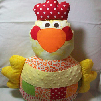 Large floppy Stuffed Toy Chicken - Washable Stuffed Hen - Childs Stuffed Animal - Childrens Gift