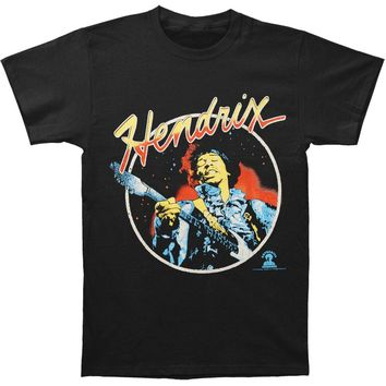 Jimi Hendrix Men's  Script Circle T-shirt Black Rockabilia