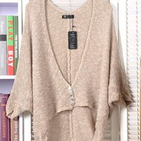 Vintage bat sleeve deep v-neck irregular cardigan  from Fanewant