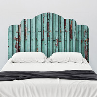 Distressed Turquoise Adhesive Headboard