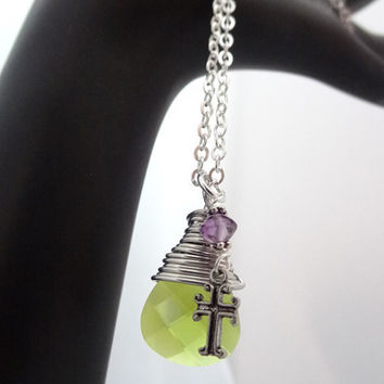 Peridot Green Crystal Wire Wrapped Pendant Silver Necklace with Amethyst Gemstone Bead Cross Charm Christian