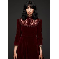 Still Loving You Burgundy Velvet High Collar Dress with Lace Details