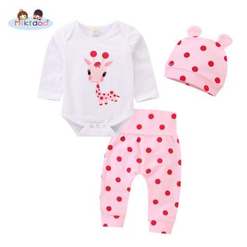 Toddler Baby Boys Girls Cute Deer Printed Clothes Set Long Sleeve Romper Top Polka Dot Pant Hat 3PCS Outfit Christmas Clothing
