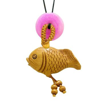 Fortune Cute Fish Car Charm or Home Decor Hot Pink Quartz Lucky Coin Donut Protection Powers Magic Amulet