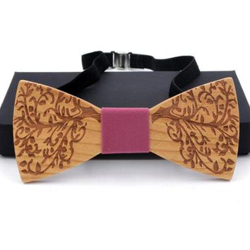 RBOCOTT Fashion Handmade Wooden Bow Tie Vintage Floral Wooden Bowtie Novelty Plaid & Dot Bow Tie Wood For Men Wedding Accessory
