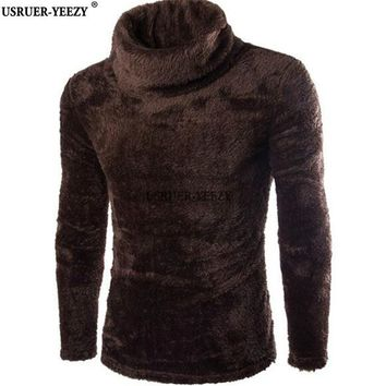 USRUER-YEEZY Promotion 7colors Turtleneck Sweaters Men Rabbit Fur Blended Soft Youth Fashion Slim Plush Mens Pull Homme Pullover