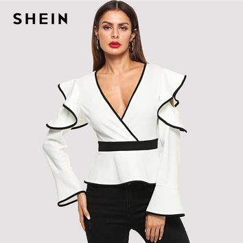 Women's Clothing Imported From Abroad Hirigin Women Ladies Blouse Solid Long Sleeve Bowknot Belt Bandage Hot Blouses Fashion Casual Blouse Tops Women Femme