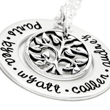 Personalized Mother's Day Necklace - Hand stamped Jewelry - Eternal Tree of Life