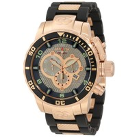 Invicta 10621 Men's Corduba Chronograph Grey Dial Black Rubber & Rose Gold Steel Bracelet Dive Watch