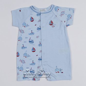 Kissy Kissy Boys Ahoy There Print Short Playsuit (sz 0/3m-6/9m)