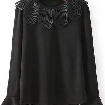 Black Ruffle Lace Collar Long Sleeved Blouse