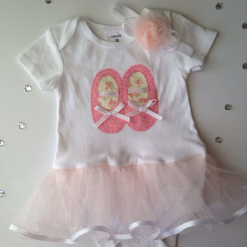 Ballet Shoes Onesuit, Tutu Onesuit, Dancing Shoes Onesuit and Headband, Onesuit Tutu Set