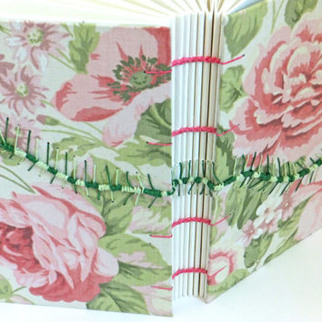 Caterpillar Journal, Wedding Guest Book, Fabric Journal, Spring Journal, Shabby Chic Flowers, Roses, Keepsake Notebook, Sketchbook
