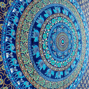 Blue Mandala Cotton Fabric Hippie Tapestry Throw Wall Hanging Bohemian Boho Bedspread Home Decor - FabricSarmaya