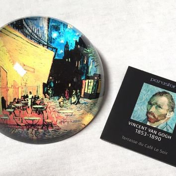 Cafe Terrace At Night Glass Dome Paperweight by Van Gogh 3W