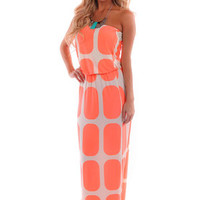Neon Coral Polka Dot Print Maxi Dress