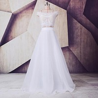 SoDigne Cheap Modest Wedding Dresses Lace Two Pieces Organza Boat Neck White Wedding Gown Bridal Dresses Vestido De Noiva