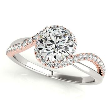 14K White And Rose Gold Bypass Split Band Round Diamond Engagement Ring (1 1/8 ct. tw.)