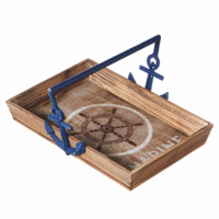 Marine Compass Wood Tray with Blue Metal Anchor Handles