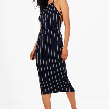 Tassie Open Strappy Back Stripe Midi Dress | Boohoo