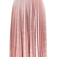 Velvet Pleat Midi Skirt - Skirts - Clothing