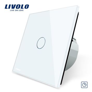 Livolo EU Standard Timer Switch (30s delay) 3 Color Crystal Glass Panel Light Touch Switch+LED Indicator C701T-1 2 3 5