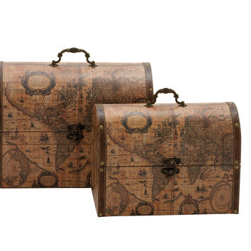 Suitcase Style Wood Faux Leather Box Set Of 2