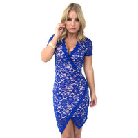 Bat A Lash Lace Dress In Royal Blue