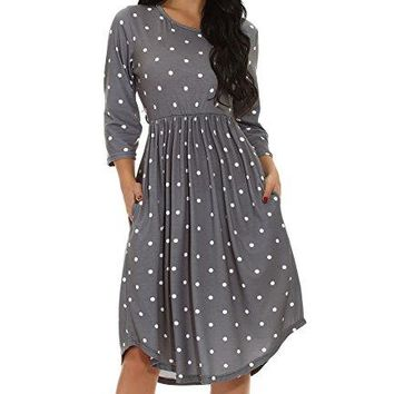 Chvity Women 34 Sleeve Pleated Polka Dot Loose Swing Midi Dress Empire Waist Casual Dress with Pocket