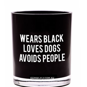 Wears Black Loves Dogs Candle