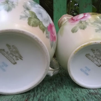 Antique German Porcelain Creamer and Sugar Bowl, Hnad Painted Roses