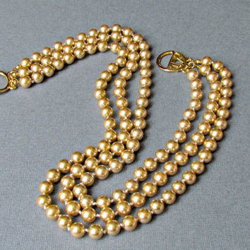 Gold Triple Strand Kenneth J Lane Pearl Necklace // KJL Bib Pearls