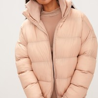 Nude Oversized Puffer Jacket with Zip Pockets