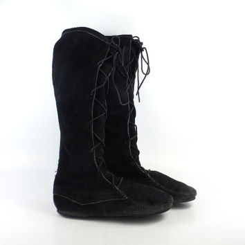 Minnetonka Suede Boots Vintage Black Leather Tall Moccasin Fringe size 9