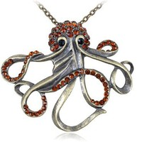Vintage-like Brass Tone Orange Yellow Synthetic Topaz Octopus Body Head Pendant Necklace