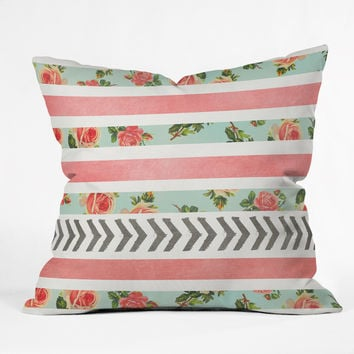 Allyson Johnson Floral Stripes And Arrows Outdoor Throw Pillow