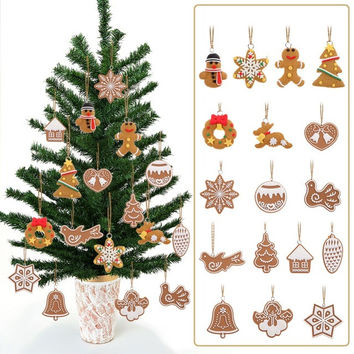 17Pcs Cartoon Animal Snowflake Biscuits Hanging Christmas Tree Ornament Hand Made Polymer Clay Christmas Decorations