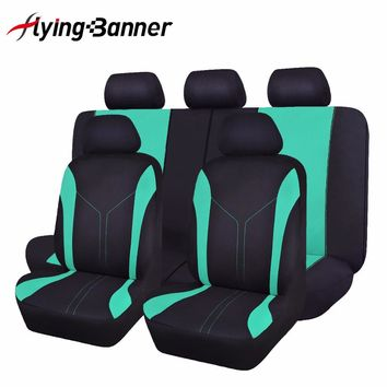 flyingBanner Cute RAINBOW Color Green Car Seat Cover Universal Breathable Mesh+Sandwich Cloth Seat Covers 60/40 ,50/50,40/20/40