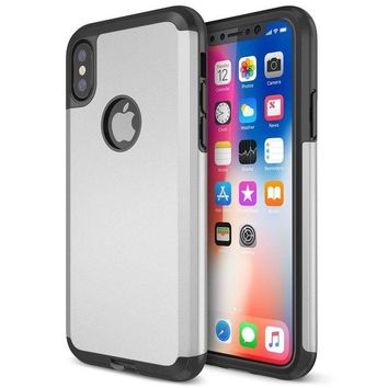 DCCKV2S Trianium Protanium iPhone X Case with Reinforced Corner Cushion TPU Bumper / Rigid Hard Back Panel / Heavy Duty Drop Protection / Scratch Resistant Cover For Apple iPhone X / 10 Phone (2017)-Silver