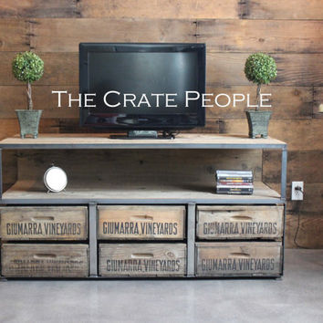 6 Drawer TV Console | Vintage Wood Crates & Reclaimed Barn Wood | Custom Furniture
