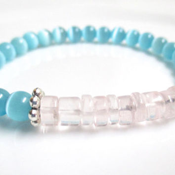 Rose Quartz and Blue Cats Eye Bracelet - Stretch Bracelet - Gemstone Stretch Bracelet