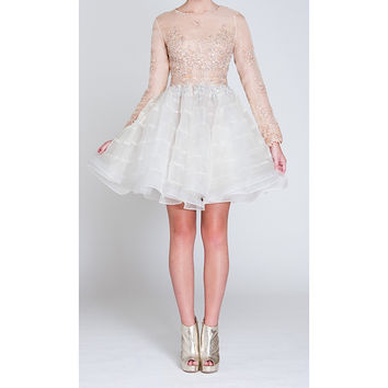 NARCES Jellyfish Silk Organza Lace and Bead Embellished Occasion Dress