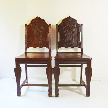 Wooden Side Chairs, Solid Wooden Chairs, Pair of Dining Chairs, Desk Chair, Custom Wood Chairs, Vintage Dining Chair, Vintage Desk Chair