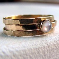 White mother of pearl and gold ring set by littlebugjewelry