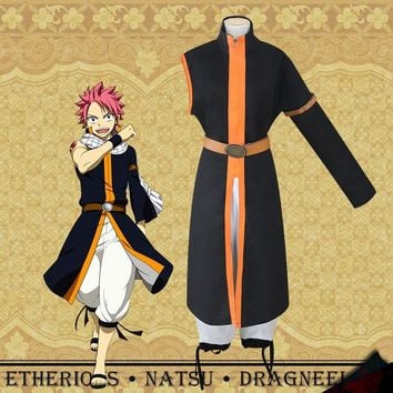 Fairy Tail Etherious Natsu Dragneel Cosplay Costume Third Generations Black Long Trench Clothes & Pants Halloween Party Wear