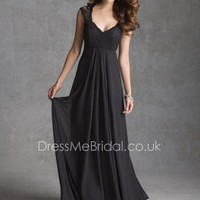 Traditional Black Sleeveless Empire Lace Bodice A-line Long Bridesmaid Dress