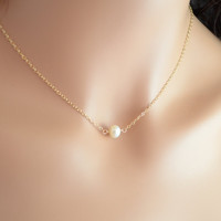 NEW White Pearl Choker, Freshwater Pearl Necklace, Floating Necklace, Minimalist Simple Gold Jewelry, Free Shipping