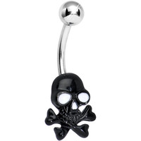 Black Ghoulish Grinning Skull and Crossbones Belly Ring | Body Candy Body Jewelry
